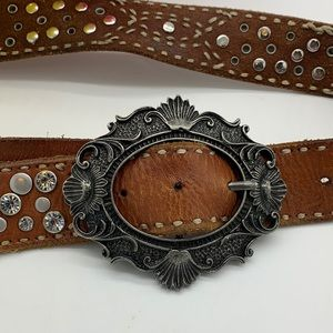 Miss Me Brown Leather Belt with ornate buckle- Sm